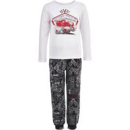 Пижама для мальчика Button Blue, цвет: белый, серый. 118BBBL97030813. Размер 140