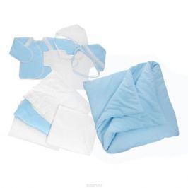 Комплект для новорожденного Трон-Плюс, 9 предметов, цвет: белый, голубой. 3476. Размер 62, 3 месяца