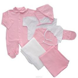 Комплект для новорожденного Трон-Плюс, 7 предметов, цвет: белый, розовый. 3472. Размер 62, 3 месяца