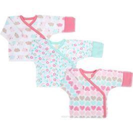 Распашонка-кимоно для девочки Lucky Child Овечки, цвет: белый, розовый, светло-зеленый, 3 шт. 30-147. Размер 50/56, 0-1 месяц