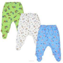 Ползунки для мальчика Фреш Стайл, цвет: голубой, белый, зеленый, 3 шт. 33-506м. Размер 86