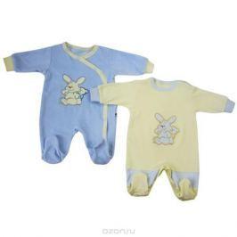 Комбинезон детский Клякса, цвет: голубой, светло-желтый, 2 шт. 53-37. Размер 74