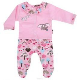 Комплект для девочки Клякса: кофточка, ползунки, цвет: розовый. 21Д-5062. Размер 80