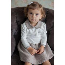 Платье для девочки Lucky Child Дуэт, цвет: бежевый, молочный. 33-65. Размер 92/98