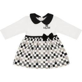 Платье для девочки Lucky Child Шахматный турнир, цвет: молочный, темно-серый, бежевый. 29-6Д. Размер 86/92