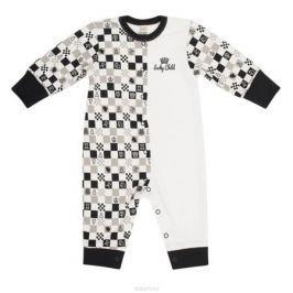 Комбинезон детский Lucky Child Шахматный турнир, цвет: молочный, темно-серый, бежевый. 29-1. Размер 80/86