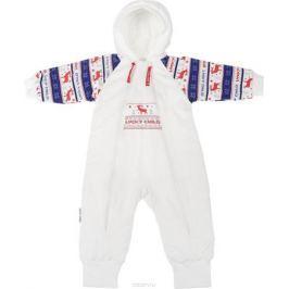 Комбинезон детский Lucky Child Скандинавия, цвет: белый, синий, красный. 10-71. Размер 74/80