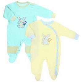 Комбинезон детский Клякса, цвет: голубой, желтый, 2 шт. 37-53. Размер 74
