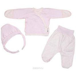 Комплект для девочки Клякса: кофточка, ползунки, чепчик, цвет: экрю, розовый. 33к-5182. Размер 62