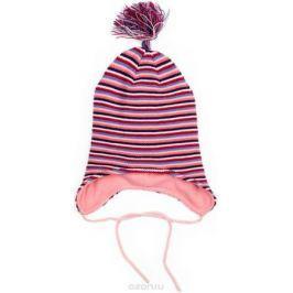 Шапка для девочки PlayToday, цвет: светло-розовый, синий, белый, сиреневый. 378039. Размер 46