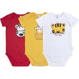Боди для мальчика PlayToday Веселые джунгли, цвет: белый, желтый, красный, 3 шт. 187870. Размер 62