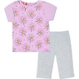 Комплект одежды для девочки Let's Go: футболка, бриджи, цвет: светло-сиреневый, серый. 4116. Размер 86