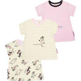 Футболка детская Lucky Child, цвет: светло-бежевый, розовый, 3шт. 30-198. Размер 80/86