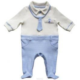 Комбинезон домашний для мальчика Soni Kids Мишка джентельмен, цвет: белый, голубой. З6102014. Размер 74