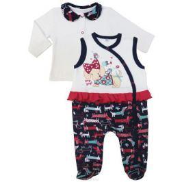 Комплект для девочки Soni Kids Прогулка с Мими: кофточка, ползунки, цвет: белый, синий. З7121034. Размер 74