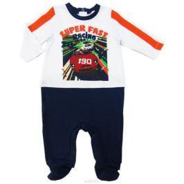 Комбинезон домашний для мальчика Soni Kids Гонщик, цвет: белый, синий. Л7102002. Размер 74