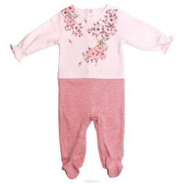 Комбинезон домашний для девочки Мамуляндия Цветочная, цвет: розовый. 17-2402. Размер 80
