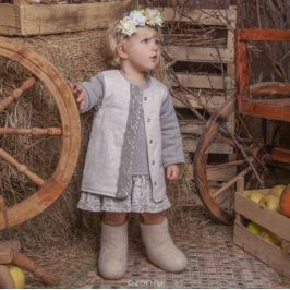 Жакет для девочки Ёмаё, цвет: светло-серый. 25-233. Размер 86
