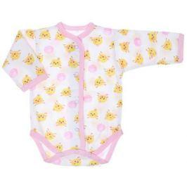 Боди детское Чудесные одежки, цвет: белый, розовый. 5866. Размер 86