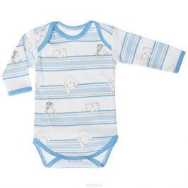 Боди детское Трон-плюс, цвет: белый, голубой. 5871_мишка, полоска. Размер 80, 12 месяцев
