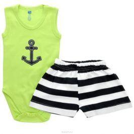 Комплект для мальчика Hudson Baby Якорь: боди-майка, шорты, цвет: салатовый, темно-синий, белый. 55010. Размер 67/72, 6-9 месяцев