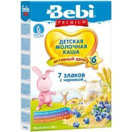 Bebi Премиум каша 7 злаков с черникой молочная, с 6 месяцев, 200 г