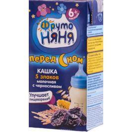 ФрутоНяня каша из 5 злаков с черносливом молочная с 6 месяцев, 0,2 л