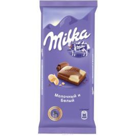 Milka шоколад молочный с белым шоколадом, 90 г