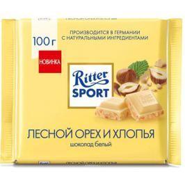 Ritter Sport Лесной орех и хлопья шоколад белый с обжаренным орехом лещины и хлопьями, 100 г