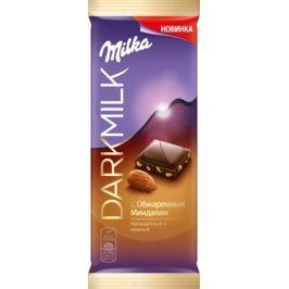 Milka Dark молочный шоколад с миндалем с содержанием какао продукта 40%, 85 г