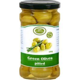 Korvel натуральные зеленые оливки без косточки колоссал, 290 г