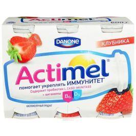 Актимель Продукт кисломолочный, Клубника 2,5%, 6 шт по 90 г