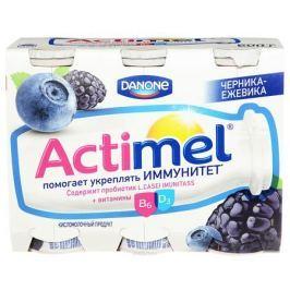 Актимель Продукт кисломолочный, Черника-ежевика 2,5%, 6 шт по 100 г
