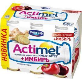 Актимель Продукт кисломолочный, Вишня-черешня с имбирем 2,5%, 6 шт по 100 г