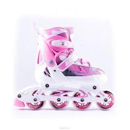 Коньки роликовые Ridex Cloudy, раздвижные, цвет: белый, розовый. УТ-00008101. Размер 38/41