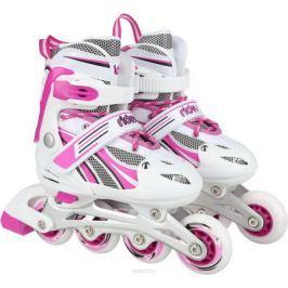 Коньки роликовые Ridex Sindy, раздвижные, цвет: белый, фуксия. УТ-00008106. Размер 34/37