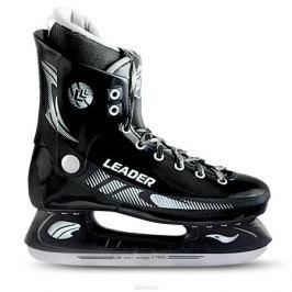 Коньки хоккейные для мальчика СК Leader, цвет: черный. Размер 35