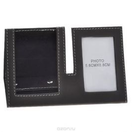 Подставка для мобильного телефона с рамкой для фото, цвет: коричневый, 5,5 х 8,5 см 28830