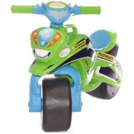 Doloni Байк-каталка музыкальный Полиция, цвет зеленый голубой