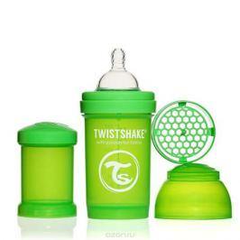 Twistshake Бутылочка для кормления 180 мл с контейнером для сухой смеси и соской 0+, зеленая
