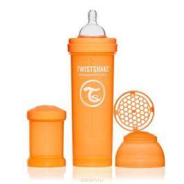 Twistshake Бутылочка для кормления 330 мл с контейнером для сухой смеси и соской 4+, оранжевая