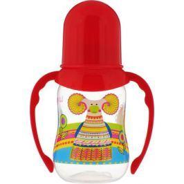 Lubby Бутылочка для кормления с силиконовой соской Русские мотивы с ручками от 0 месяцев 120 мл цвет: красный