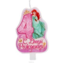 Disney Свеча для торта С днем рождения Цифра 4 Принцессы
