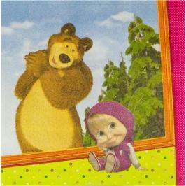 Веселая затея Салфетка Маша и Медведь 25 x 25 см 12 шт