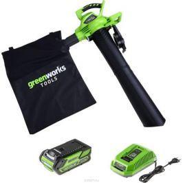 Пылесос садовый Greenworks 40V б/щ (в комплекте литий-ионная аккумуляторная батарея и зарядное устройство) 24227UB