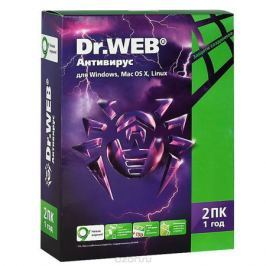Dr.Web Антивирус для Windows, Mac OS, Linux. Лицензия на 1 год (для 2 ПК)