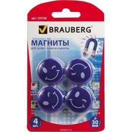 Brauberg Магнит для досок Смайлики цвет голубой 3 см 4 шт