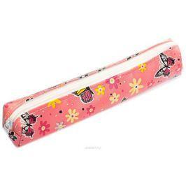 Calligrata Пенал школьный Цветы/Бабочки цвет розовый 2879214
