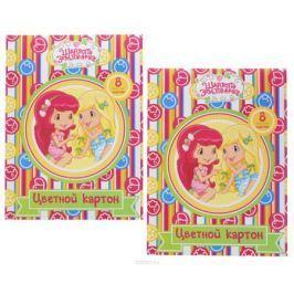 Action! Набор цветного картона Strawberry Shortcake 8 листов 2 шт цвет папки зеленый красный