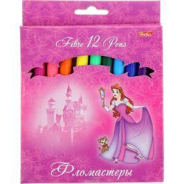 Hatber Набор фломастеров Принцессы на розовом 12 цветов